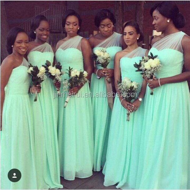 Wedding Party Dress Chiffon Mint Green Bridesmaid Dresses One Shoulder Maid of Honor Dress