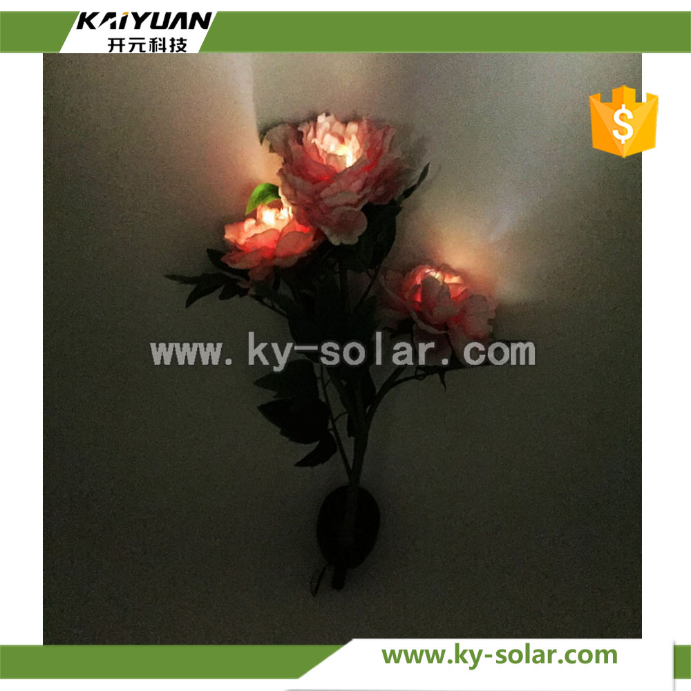 Intelligent LED flower shaped solar garden lights with handy power