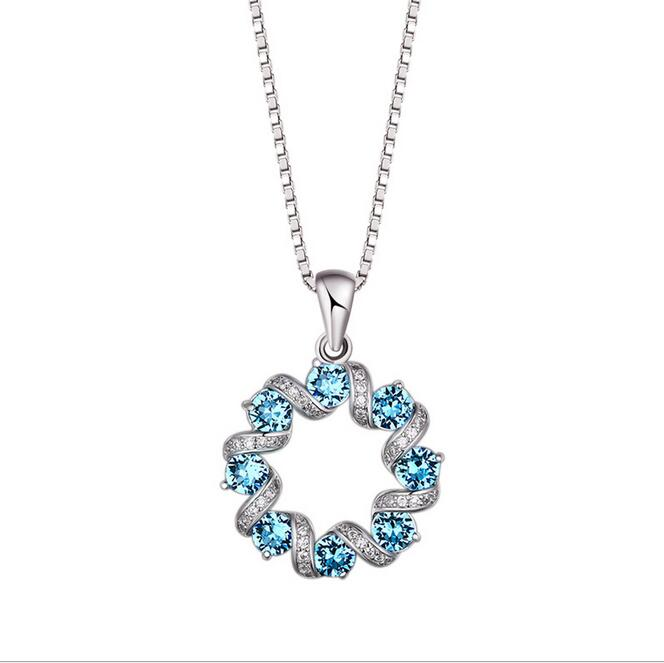Fine jewelry <strong>100</strong>% 925 Sterling Silver <strong>A</strong> wreath crystal necklace Free shipping