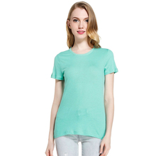 Latest woman blank fitted 95% cotton 5%spandex plain t-shirts wholesale