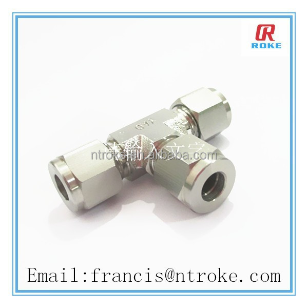 stainless steel pipe fitting tee compression fitting double ferrule tee for gas