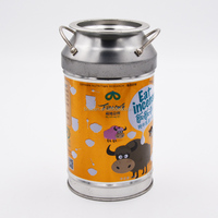 Milk can shaped coin tin box for candy packaging