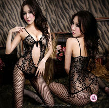 Lady`s Fishnet Open Crotch Bodysuit Lingerie Crotchless body stocking sexy bodystocking