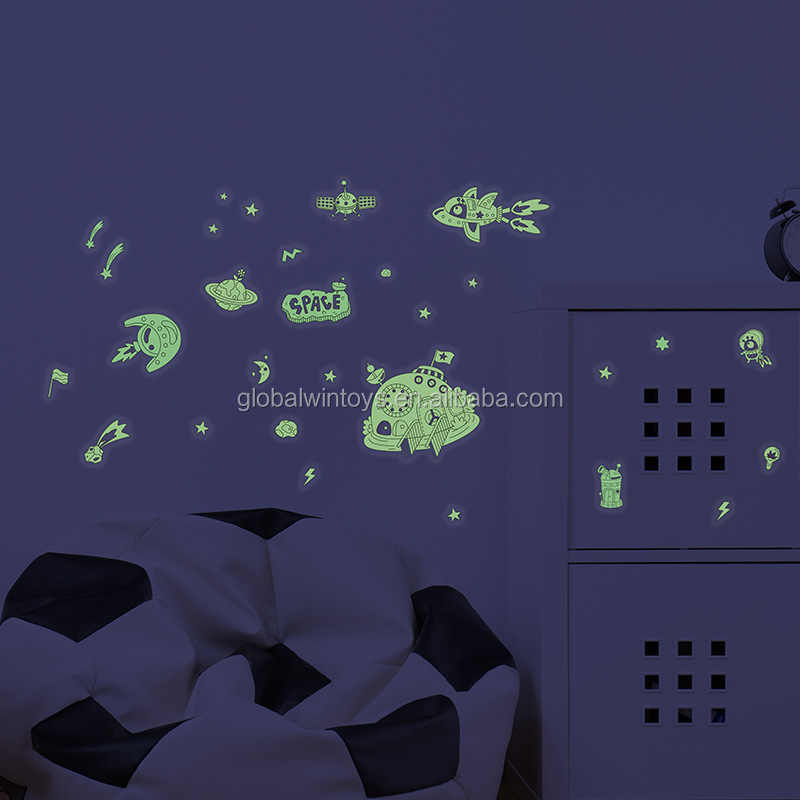 Mideer Phosphorescent Wall Stickers ocean/space theme transparent glow-in-dark sticker for kids wall decoration.jpg