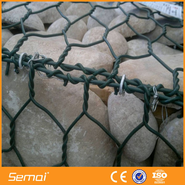 PVC Coated Gabion Box ,Stone Cages,Rock Wall Packed In Rolls(ISO9001)