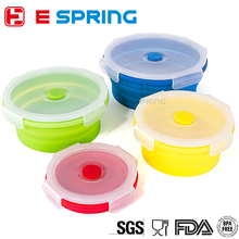 BPA Free round shaped food grade collapsible silicone food storage container