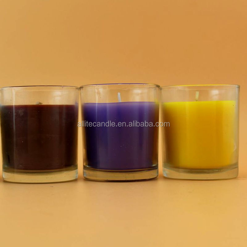 2017 hot sale natural 100% soy wax in printing glass scented candle