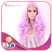 Cosplay Wig Rose Pink Long Wave Hair Wig Synthetic Lace Front for Black Women Heat Resistant Fiber Hair with middle parting