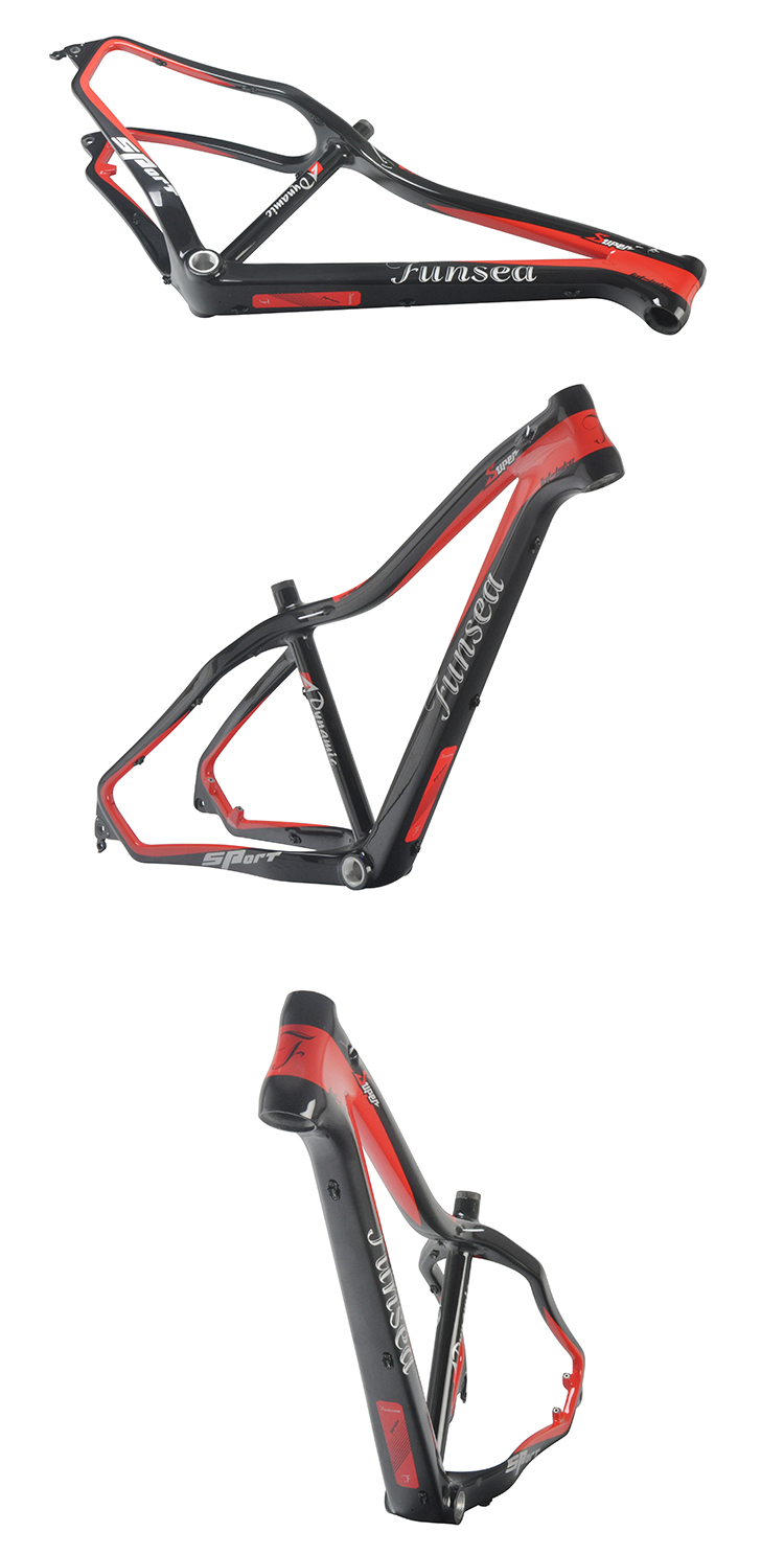 "15""/17""/19""/21"" rear space 197mm fat snow bike frame chinese T700 carbon bicycle frame from Funsea china manufacturer"