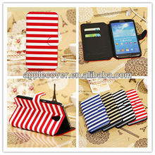 Stripe leather cover case for samsung galaxy mega 6.3 i9200