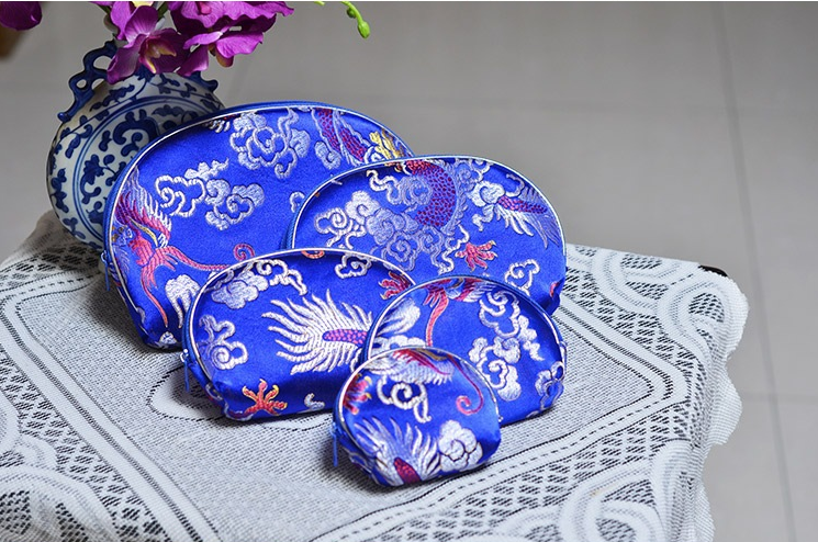 2016 New Silk Coin Purses Chinese Traditional Gift Souvenir Zipper Handmade Handbag Clutch Embroidery Coin Bag Brocade Wallet