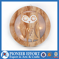 Wooden craft with led light in owl design for holiday decoration