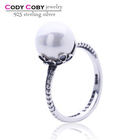 Garden odyssey 925 sterling silver oxidized rings with white freshwater pearl ring designs for women wholesale jewelry