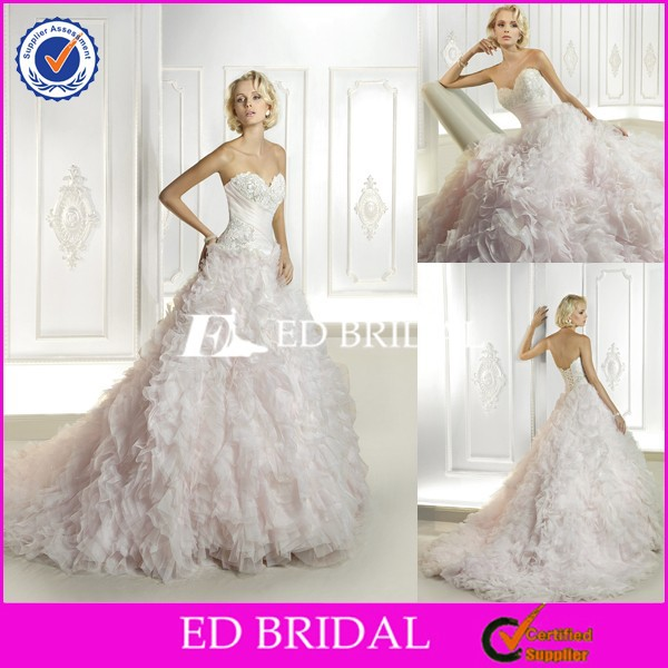 CE503 Made in China Factory Cheap Pink Puffy Layers Tulle Wedding Dress With Color Accent
