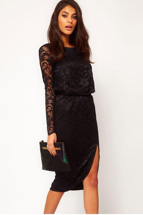 Cheap Black Long Sleeve Knee Length Dress Find Black Long Sleeve