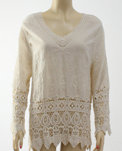 Ladies white lace cotton crochet net embroidery tops organza embroidery lace top blouse
