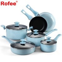 10-Piece Pot And Pan Set Hard Porcelain Enamel Nonstick Titanium Cookware Set , Blue Speckle