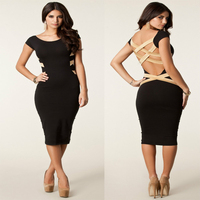 Walson girl outlet Spring Summer Sexy Knee Length Black Bodycon Bandage Dress Celebrity Casual Dres ins factory inst instyl