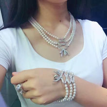 elegant nice 3 rows shell pearl necklace chain fashion copper jewelry for ladies