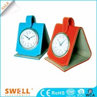 Very small leather travel digital clock , small quartz clock bulk clock