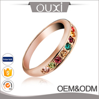 Hot Sale Real 18K Rose Gold Plated Multi Color Austria Crystal Wedding Ring Bridal Jewelry Gold Ring