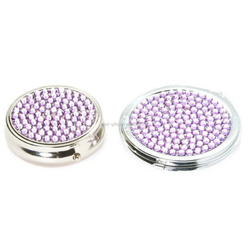 Two piece Gift Set: Pill Box & Personal Purse Mirror with Crystal Decorations