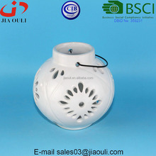 BSCI Certificate Factory glazed white Ceramic candle Lantern, ceramic hanging candle holder