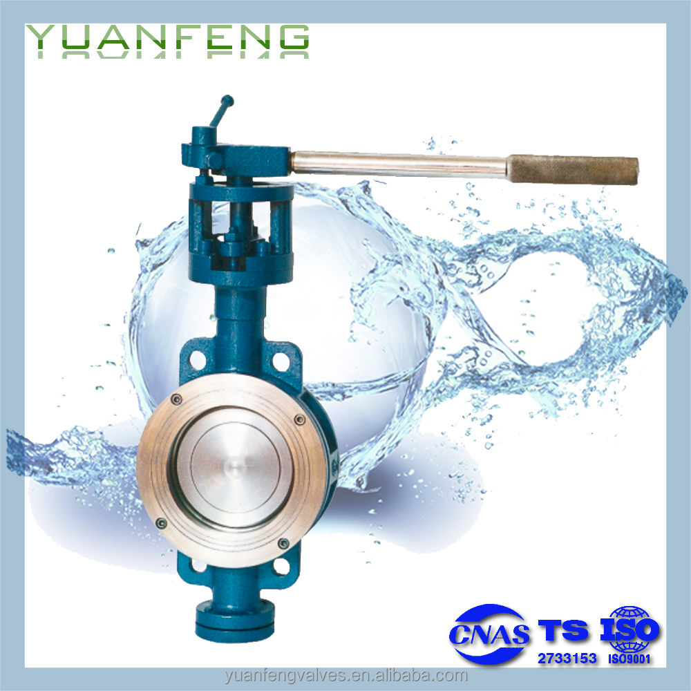 Lever wafer metal hard sealing,fluorine plastic sealing eccentrivity butterfly valve