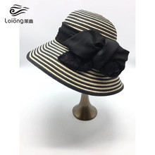 Best sell cheap beach summer black white stripe paper straw hats