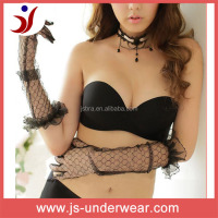 Sexy lady wear sheer back strapless black bra, seamless attractive bra ladies sexy underwear