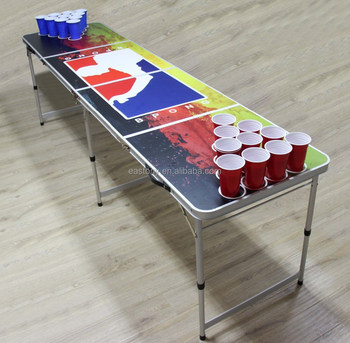 8ft Tailgate table Beer Pong Table with Bottle Opener and Ball Rack and 6 Pong Balls
