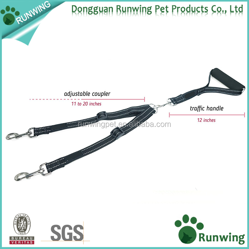No Tangle Reflective Adjustable Double Dog Leash for Walking Two Dogs