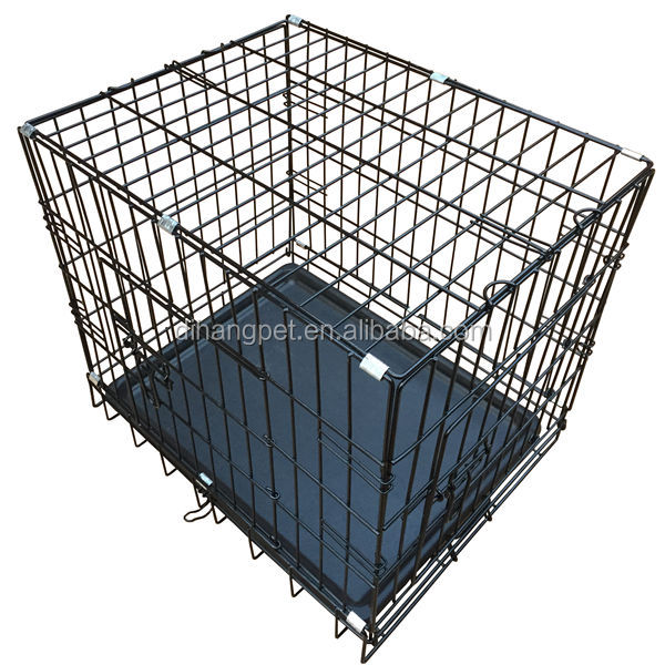 China Black 24 Inch 2 Doors Pet Folding Suitcase Dog Cat Crate Cage Kennel Pen w/ABS Tray
