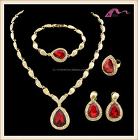 Women ruby diamond gold textured jewelry necklace earring ring and bracelet for women party wedding