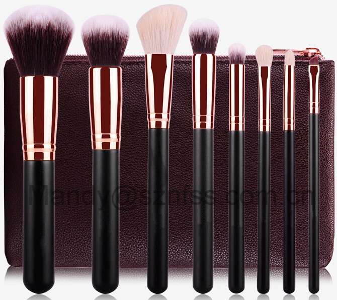 8 pcs rose gold makeup brush set, rose gold makeup with zipper bag, Soft Synthetic Hair Rose Gold Ferrule Makeup Brush set