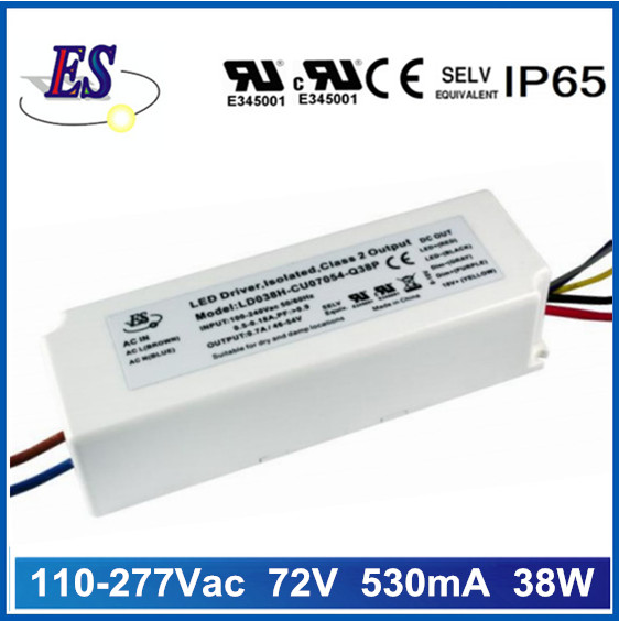 38W 72Vdc 530mA constant current dimmable led driver with 1-10V dimming,UL CUL approval