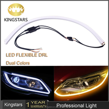 60CM Car Flexible Led Tube Strip DRL Light-Guide Strip White/Yellow 85cm Dual Color Led Headlight Tear Strip flexible led drl