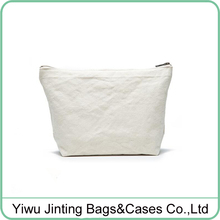 Custom your logo white white Blank cotton canvas cosmetic bag makeup bag