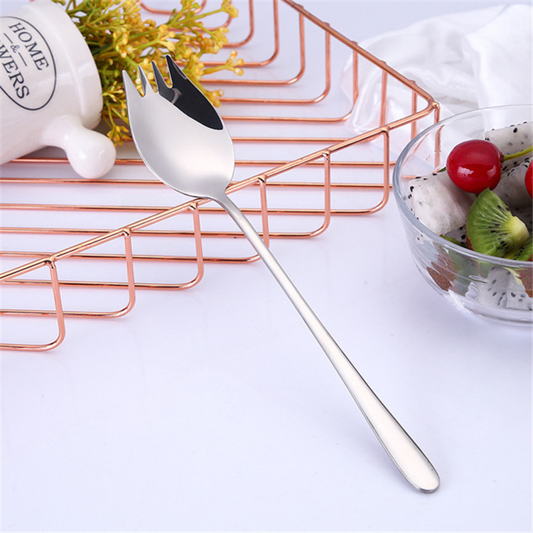 Dual-purpose 304 stainless steel salad serving spoon and fork set