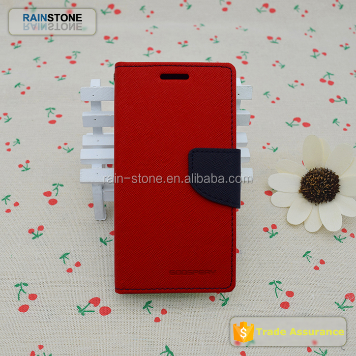 Promotional mercury GoosPery flip open style money slot pu leather case for redmi note 2
