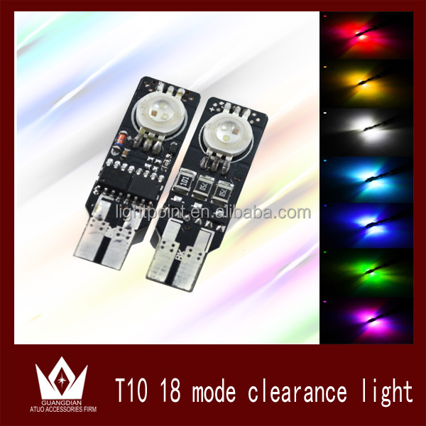 automotive led lamp t10 smart led with 18 patterns colorful and flash