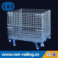 Heavy duty collapsible wire rolling metal storage bins