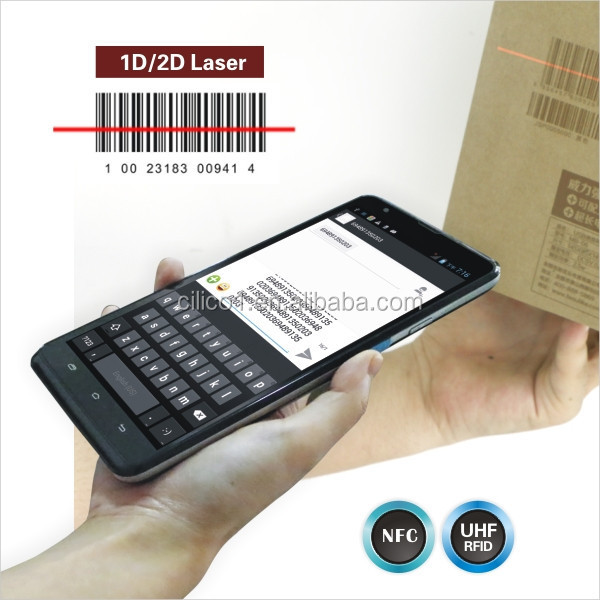 Rugged Android 1D laser barcode scanner and NFC reader/writer Tablet PC with GPRS/GSM,3G,wifi,bluetooth,GPS,Free SDK