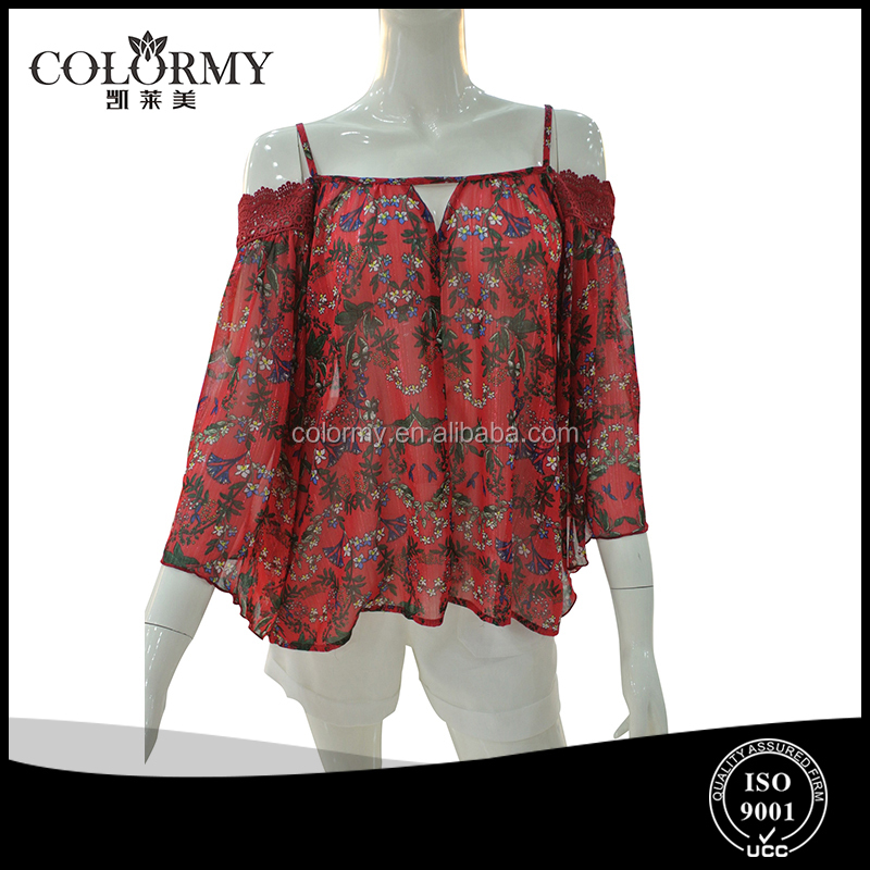 fashion korean style contain golden yarn print chiffon long sleeve braces red sexy ladies blouses