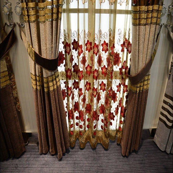2015 hot sale excellent indian hand embroidery curtains for cafe curtain drapery