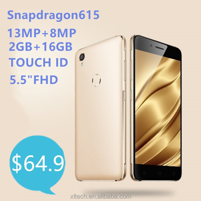 "4G LTE 5.5""FHD snapdragon615 2GB RAM 16GB ROM camera 13MP Touch ID android mobile <strong>phone</strong>"