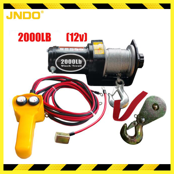 Low noise 12V 2000LBS mini electric ATV/UTV winch