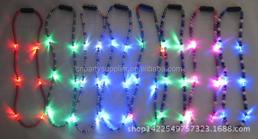 Led Flashing Mardi Gras Beads Necklace