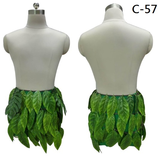 2017 New Indigenous style Green Men's short Plastic leaves Cartoon aboriginal character design, Maui costume