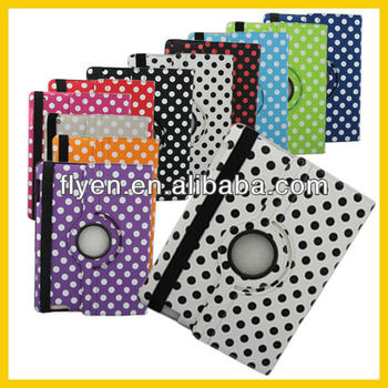 For Apple iPad 4 For iPad 3&2 360 Rotating Leather Case Cover W/Stand Polka Dot White